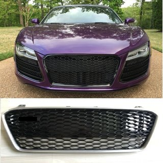 For Audi R8 RS Look honeycomb grille Black gloss with silver frame 13-15 Facelift