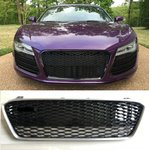 For Audi R8 RS Look honeycomb grille Black gloss with...