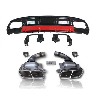For Mercedes-Benz A-Class W176 AMG look rear apron black high gloss Set with  red lip + chrom exhaust tips