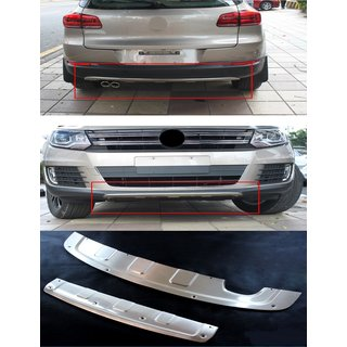 VW Tiguan rear + front bumper protection cover stainless steel brushed