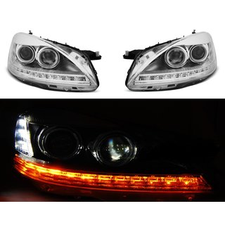 Für Mercedes-Benz W221 05-09 DAYLIGHT HID CHROME LED Scheinwerfer